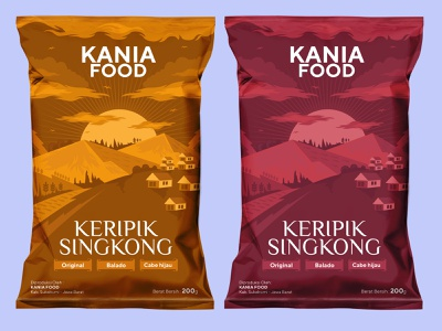 Kania Food casava chips pouch chips illustration design branding vector packaging design