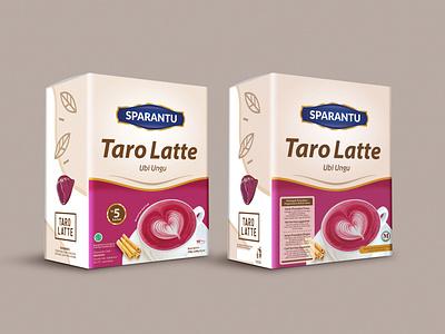 Packaging box latte taro box desing box beverage packaging design branding packaging design
