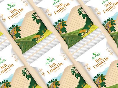 Tea Tin hireme tea pouch sachet illustration design branding logo vector packaging design