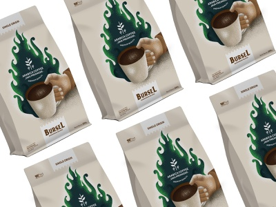 BURSEL Arabica Coffee vector coffee illustration branding packaging design