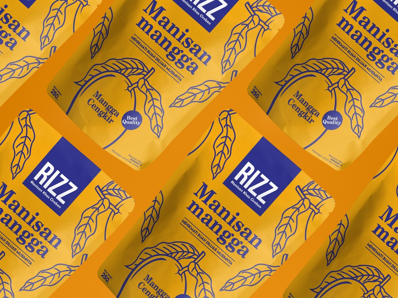 Ritz candied mango pouch mock ups flat design mango food logo vector packaging design branding