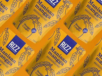Ritz candied mango pouch mock ups flat design mango food logo vector packaging design branding