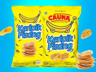 CAUNA mock ups food chips typography illustration design packaging design