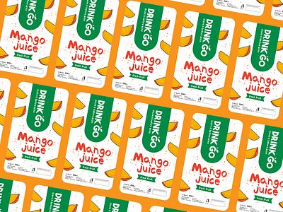 Drink GO Mango Juice Label branding sticker label juice mango vector typography illustration design packaging design logo
