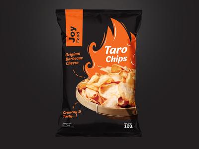 JOY Food  Taro Chips hire me taro chips design branding pouch vector packaging design logo