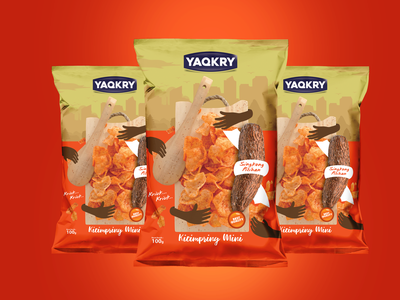 yaqkry flexible center seal flexible packaging hireme pouch food chips illustration mock ups design branding vector logo packaging design