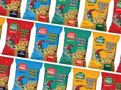 STICK KREZ packaging mockup flexible design branding chips food logo illustration vector packaging design