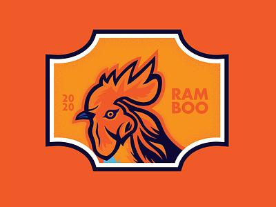 RAMBOO cock illustration vector logo branding badge