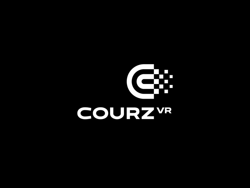 Courz VR education course abstract geometric design digital branding logotype identity sign mark logo vr