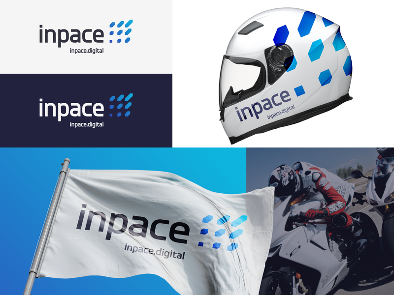 Inpace speed dynamic technology cloud autosport telemetry racing branding agency design abstract geometric branding digital logotype identity mark sign logo
