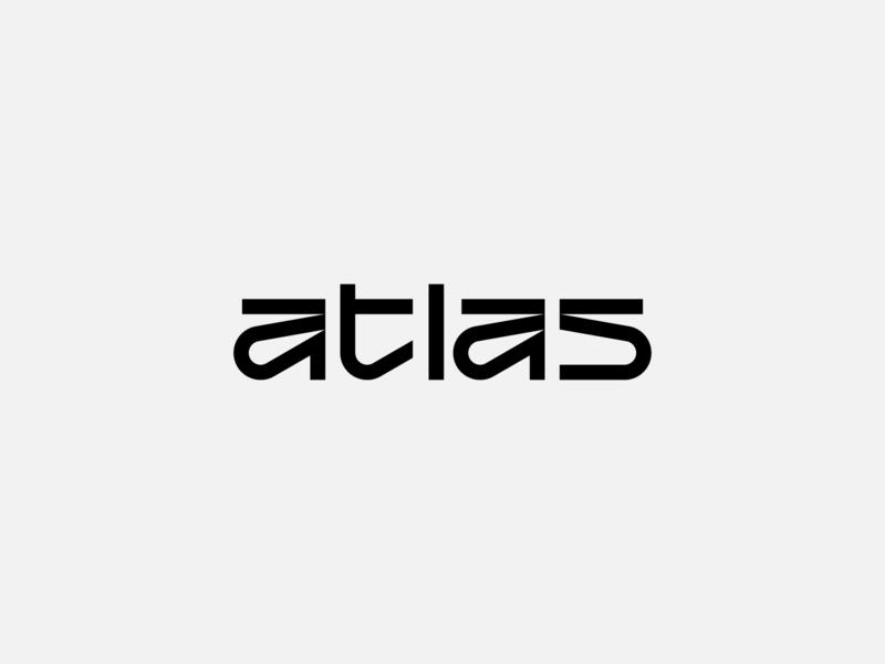 Atlas typography experiment branding agency concept atlas lettering design abstract geometric branding digital logotype identity logo