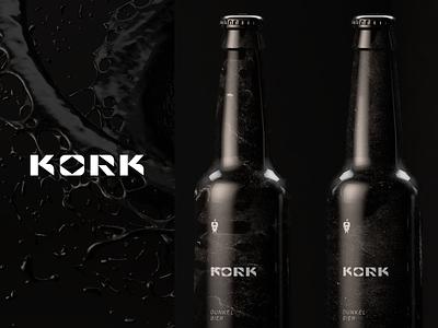 Kork food alcohol brewery restaurant dunkel black beer branding agency design logotype mark sign identity brand design branding logo