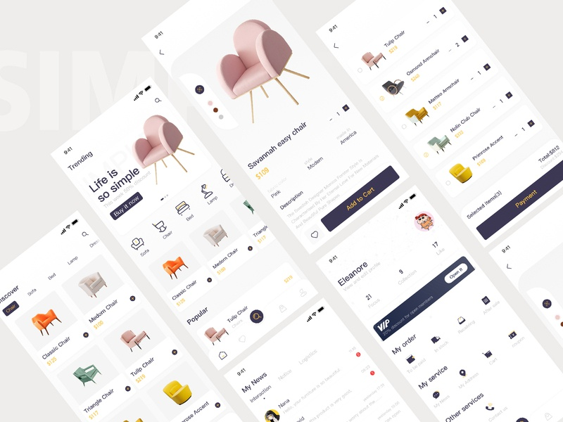 Furniture Store app design ui
