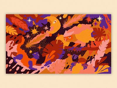 Affinity x Liefhebber Night art leaves commission starry night starry sky stars patterns bug cats cat landscape illustration landscape moon owl serif vector illustration affinity designer affinitydesigner affinity
