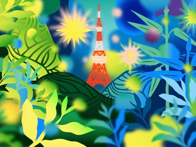 Reaching for Tokyo Tower airline dreams dreamy texture bamboo paper art papercut editorial illustration fields outdoors traveling travel art digital illustration illustration hills landscape tokyo tower japan