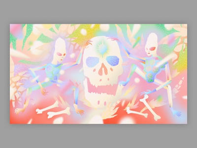 Elders from the outer galaxy ring milky way space galaxy stars forest psychedelic art patterns airbrush bones alien skulls skull texture vector illustration ancient aliens aliens illustrator vector illustration