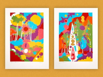 Monument Range screenprint 1 and 2 limited edition gold ink overprint minimal graphic illustration art standing stone menhir monolith new age occult altar monuments monument ancient civilization civilization illustration screenprinting screenprinted screenprint