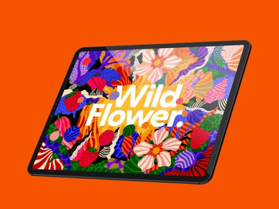 Procreate 5X - Wild Flower psychedelic hand drawn patterns apple pencil ipad pro ipad typography campaign branding lemon orange botanical wild flowers flowers flower procreate 5x illustration procreate art procreate app