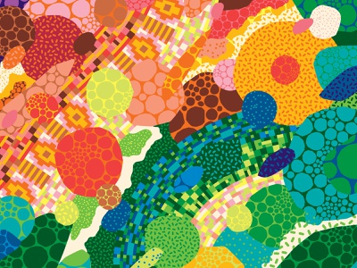 Rainbow Road part 2 rainbows dots polka dots graphic design surface pattern surface design pattern design inclusive design vector psychedelic patterns illustration colorful rainbow road rainbow