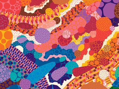 Rainbow Road part 1 abstract art pattern designer celebration inclusive vector illustration illustrator surface pattern design surface pattern pattern design dots patterns rainbow road rainbows rainbow