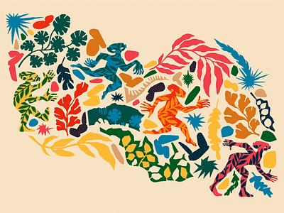 Flowing Through Here - a Forest Fest spring festival springtime summer festival dancing patterns leaves art illustration drawing forest spirit forest spirit spring ancient greece folklore nymph greek god screen print screenprinting screenprint