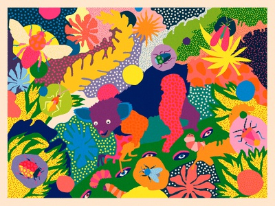 WOBBY - The Cleanout illustration nature outdoors bees bee leaves forest animals illustrated pattern pattern design fluorescent neon colorful patterns jungle bug bugs animals aye aye