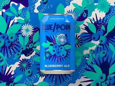 Blue Point Brewing - Blueberry Ale art patterns vector clean design fruit beer fruit pattern design pattern illustration craft brewery brewery blueberry ale blueberry beer art beer can beer branding craft beer beer