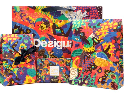 Desigual Holiday Packaging colourful dreamworld jungle botanical botanic psychedelic animal kingdom animals magic patter holidays holiday wrapping paper wrapping packaging