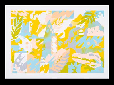 Creek growth plants animal kingdom animals leaves screenprinted screenprint patterns tropical botanical art psychedelic illustration