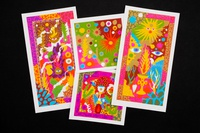 Screenprinted psychedelic holiday cards