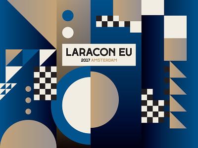 Laracon EU blue 2017 geometric icon patterns branding design vector typography logo graphic design