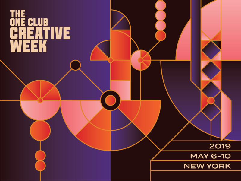 The One Club Creative Week network graphic festival flat event clean geometric vector illustration icon new york art directors club art direction adc conference branding typography design graphic design