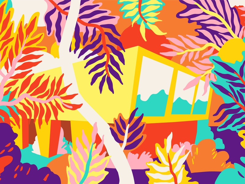 Living in a bubblegum forest fresh modern architecture visualization architecture botanical art illustrator draw vector illustration tropical forest leaves colour and lines colorful