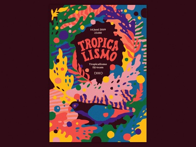 Tropicalismo poster swirl patterns psychedelic forest lush animals parrot rainforest illustrator illustration typography custom typography festival poster design tropical leaves tropicalia music festival music party tropical