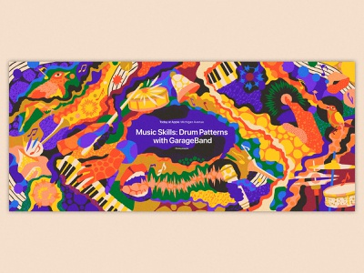 Today at Apple - music sessions psychedelic notes note artist musician singing birds drums keys keyboard garageband ipad instruments instrument music patterns apple store today at apple todayatapple apple