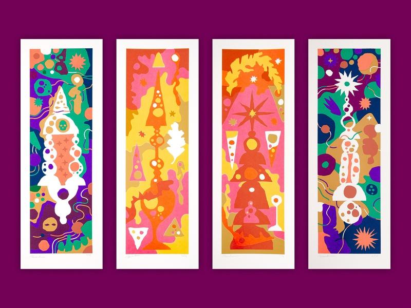 Monuments To A Future World patterns building stones art psychedelic symbol magical occult symbolism paper art papercut illustrator illustration monument monuments quadriptych diptych screenprinted screen print screenprint