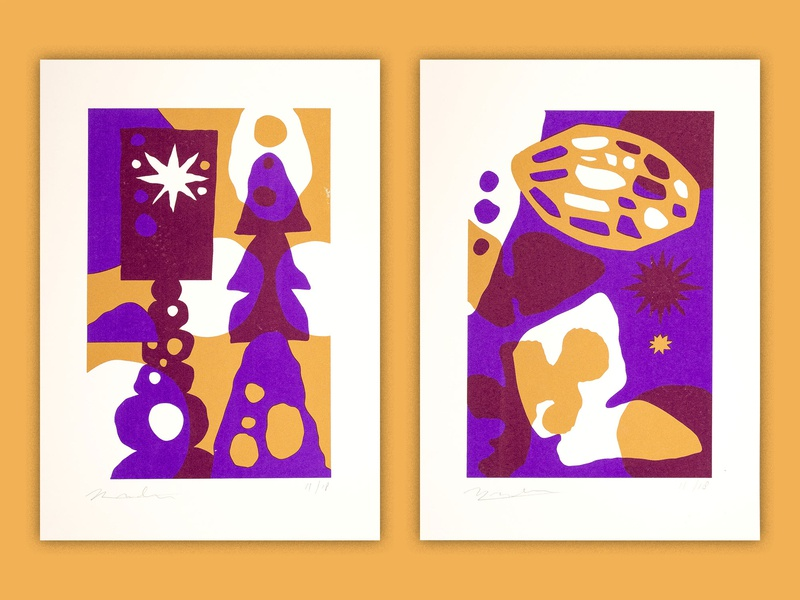 Crumbling Ruins 2 colorful contrast serigraph screen printing screen print screenprint minimal illustration minimal gold ing paper shapes paper cut ancient culture culture illustration abstract travel architecture history ruins crumbling