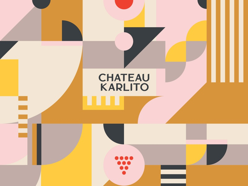Chateau Karlito illustration system and typography logo design identity visual identity branding graphic design design adobe ilustrator tiles tile icon illustration system vineyard natural wine winebar wine grapes typeface custom type typography logo