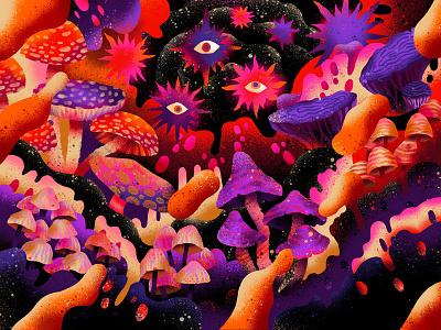Procreate 5 commission trip trippy cave outerspace forest nature illustration art illustration psychedelic textures brushes procreateapp procreate botanical nature fall mushroom shrooms mushrooms fungi