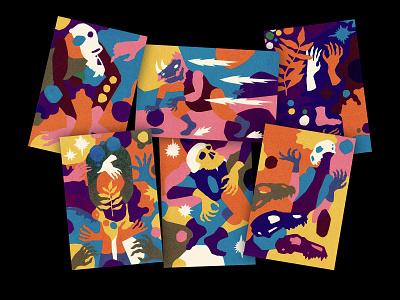 Shadow World screenprint package bigcartel minimal illustration absurdism skull art rhino screen printing cards for sale dancing holding hands editorial illustration monkey illustration sports illustration sports skulls skull screen print screenprint