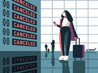Airport illustration woman airport pandemic
