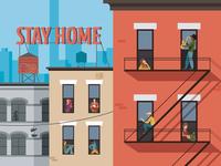 STAY HOME vector people illustration digitalart house coronavirus quarantine new york stayhome covid19