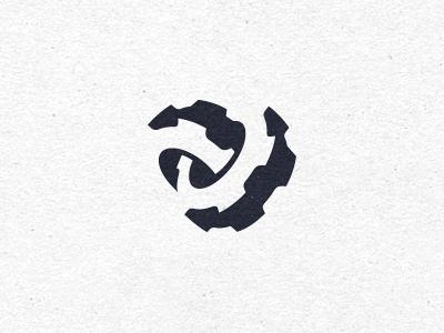 Universal Mashines engine logo mark identity symbol gears dynamics black movement shadow