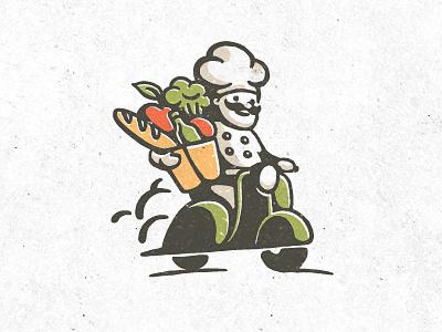 Personal chef logo identity illustration cook food chef moped motorbike vintage retro motorcycle handmade