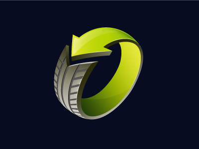 Recycling of tires green logo 3d icon identity tire recycling ecology
