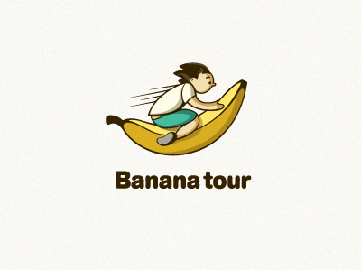 Banana Tour logo vector line yellow type illustration