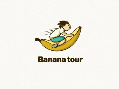 Banana Tour logo vector line yellow type illustration