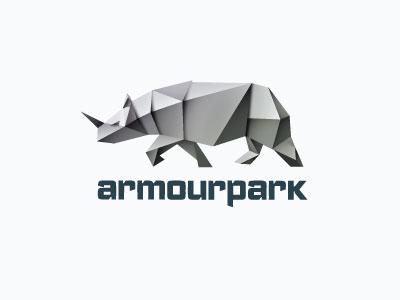 Armoupark gray metall logo rhino