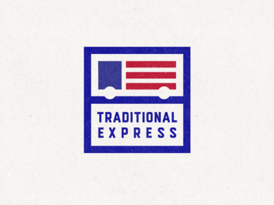 Traditional express minimalistic simple flag usa truck moving