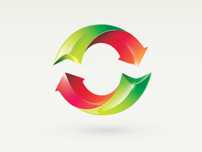 O logo identity colorful red green 3d icon